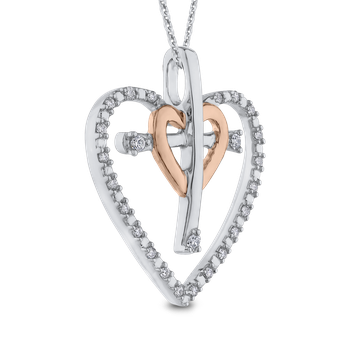 10K Two Tone Gold .14 ct White Diamond Cross in Heart Pendant with Chain