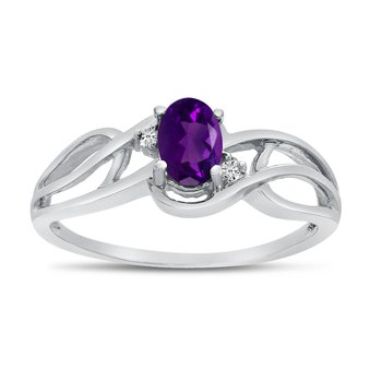 10k White Gold Oval Amethyst And Diamond Curve Ring