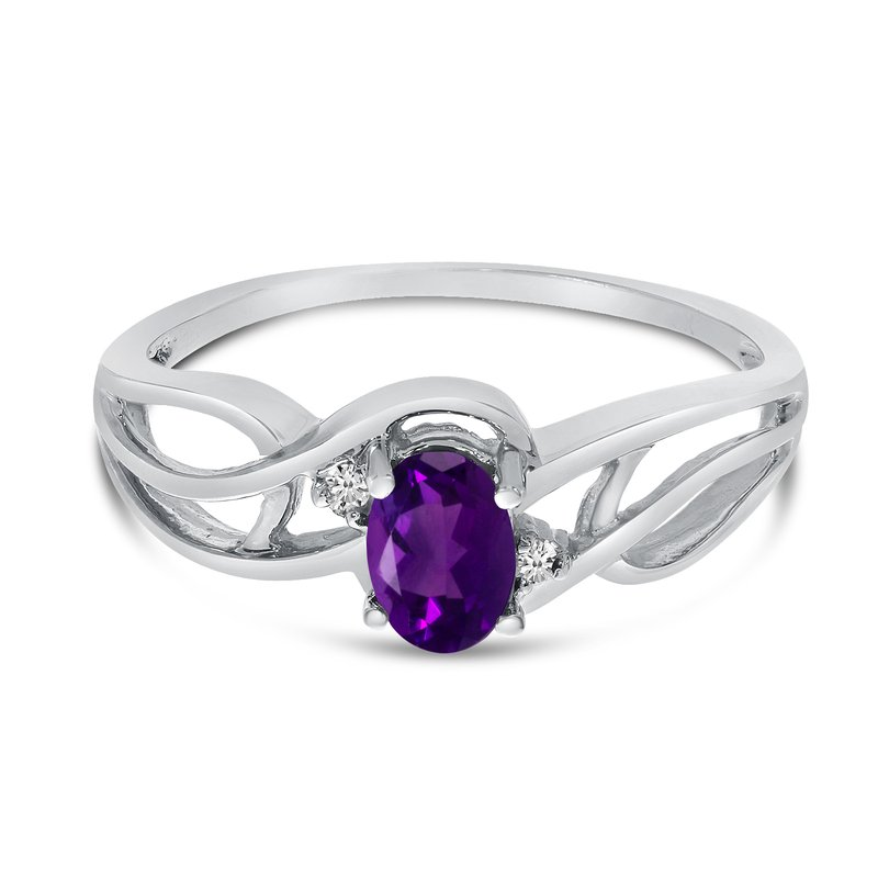 Color Merchants 10k White Gold Oval Amethyst And Diamond Curve Ring