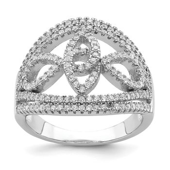 Sterling Silver Rhodium-plated CZ Micro Pave Fancy Ring