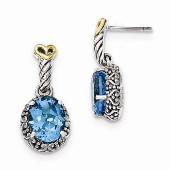 Sterling Silver w/14ky Lt Swiss Blue Topaz Post Dangle Earrings