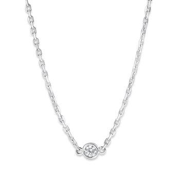 Bezel Set Solitaire Diamond Necklace Set in 14 Kt. Gold