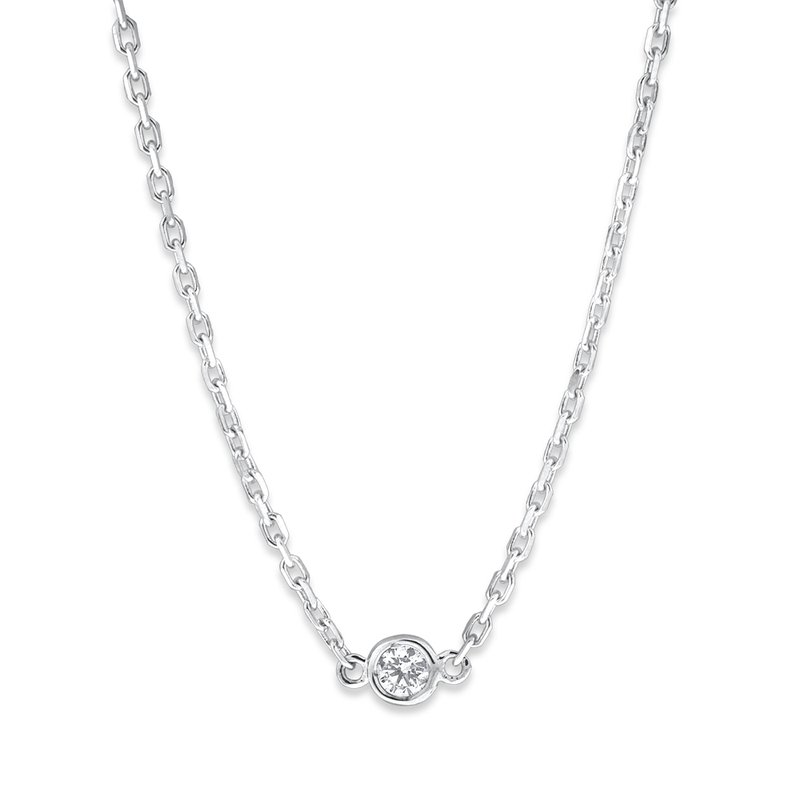 MAZZARESE Fashion Bezel Set Solitaire Diamond Necklace Set in 14 Kt. Gold