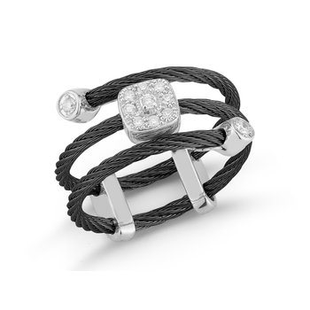 Black Cable Flex Ring with Square Diamond Station Set in 18kt White Gold
