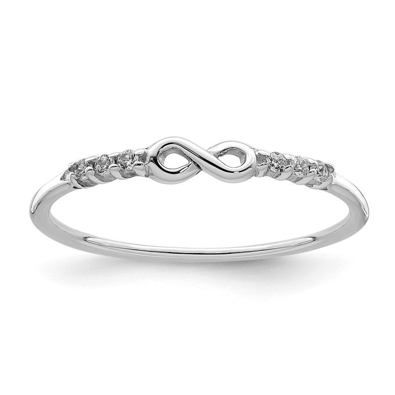 Quality Gold Sterling Silver Rhodium Plated CZ Infinity Ring