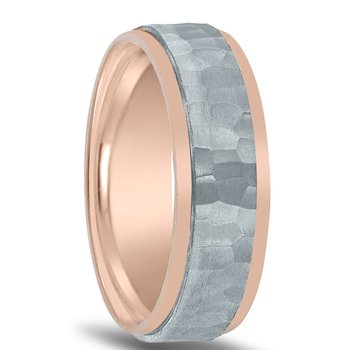 Men's Two-tone Hammered Wedding Band NT16741 by Novell