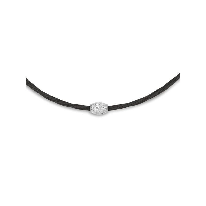 ALOR Black Cable Barrel Station Necklace with 18kt White Gold & Diamonds