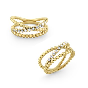 14K Diamond Basket Weave Ring