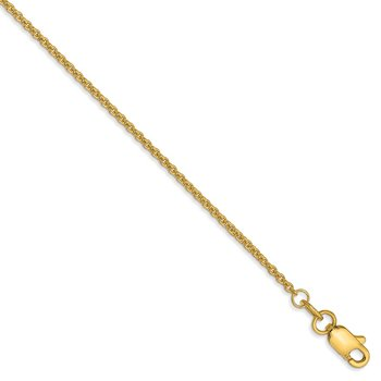 14k 1.4mm Round Open Link Cable Chain Anklet