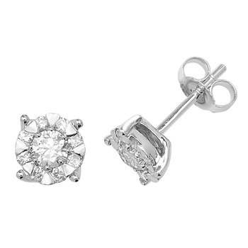 9Ct White Gold 2X6.8mm Diamond Stud Earrings