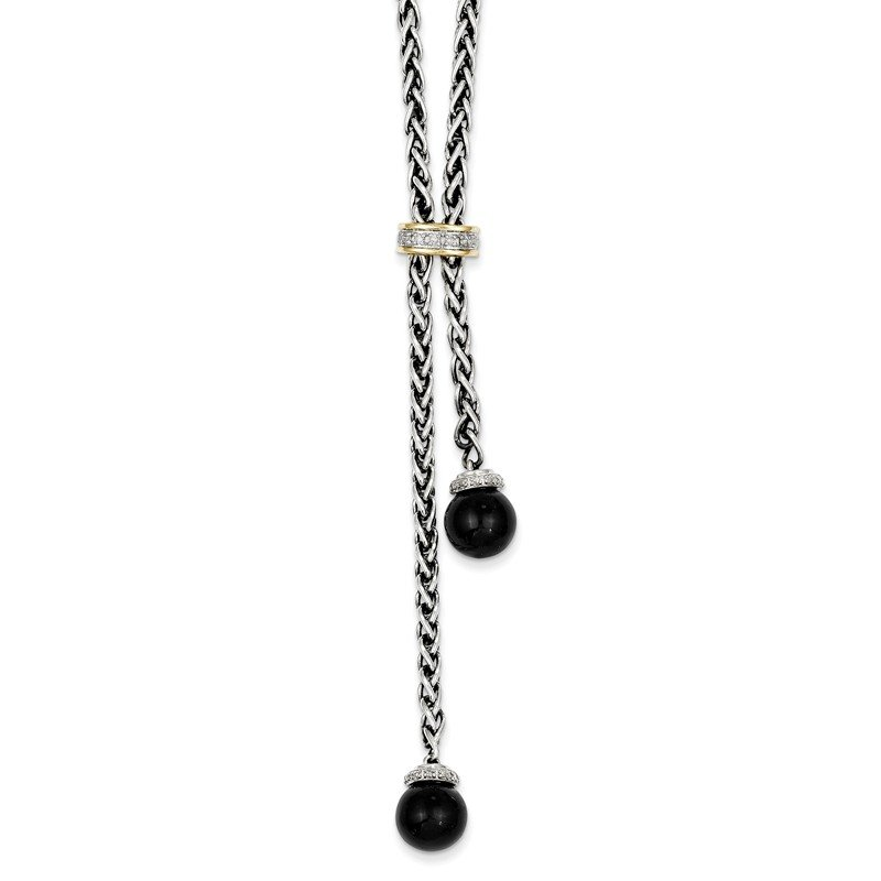 Shey Couture Sterling Silver w/14k Onyx & Diamond Lariat Necklace
