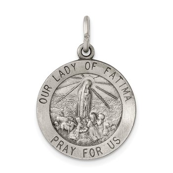 Sterling Silver Antiqued Our Lady of Fatima Medal