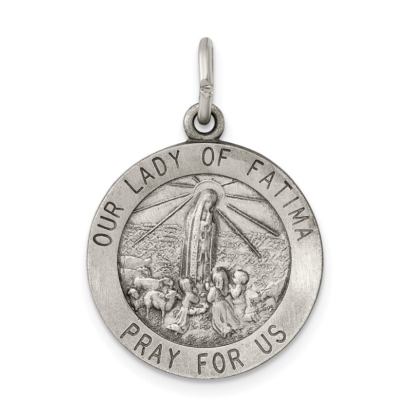 Quality Gold Sterling Silver Antiqued Our Lady of Fatima Medal