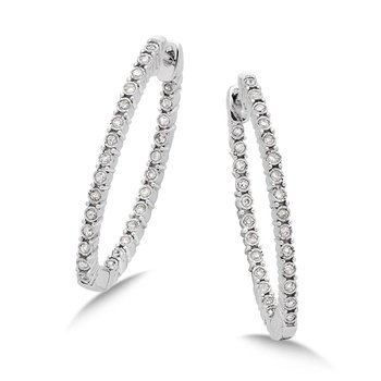 Pave set Diamond Twisted Inside/Out Hoops in 14k White Gold (1/2 ct. tw.) GH/SI1-SI2
