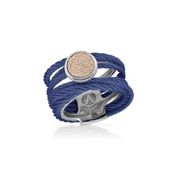 Blueberry Cable Intermix Ring with 18kt Rose Gold & Round Diamond Station