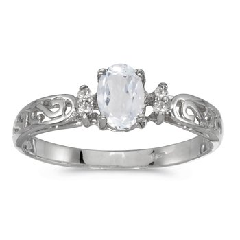 14k White Gold Oval White Topaz And Diamond Filagree Ring