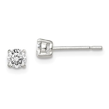 Sterling Silver 4mm Round Basket Set CZ Stud Earrings
