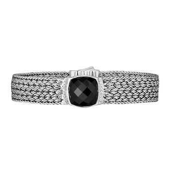 Sterling Silver Cushion Briolette Black Onyx Woven Bracelet