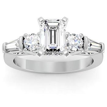 Baguette & Round Diamond Engagement Ring