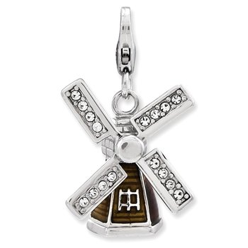Sterling Silver Enameled 3-D Windmill w/Lobster Clasp Charm