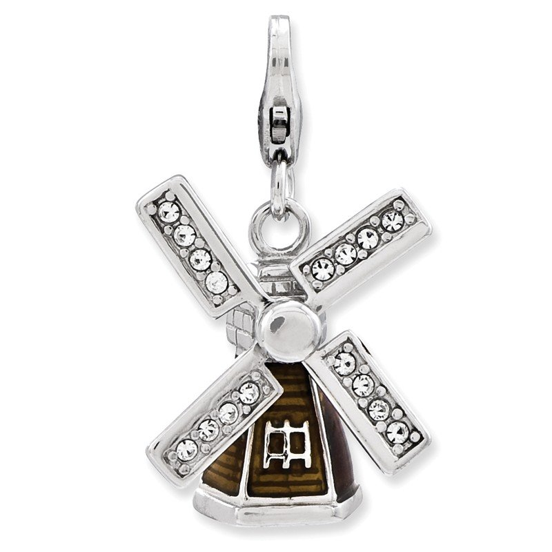Quality Gold Sterling Silver Enameled 3-D Windmill w/Lobster Clasp Charm