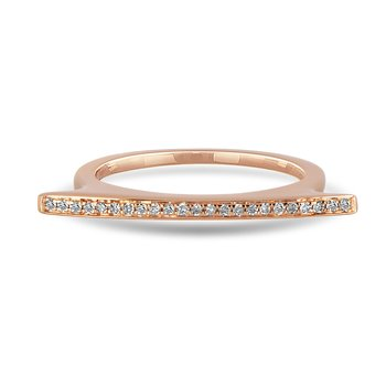 14K RG Diamond Stackable Ring in Shared Prong Setting