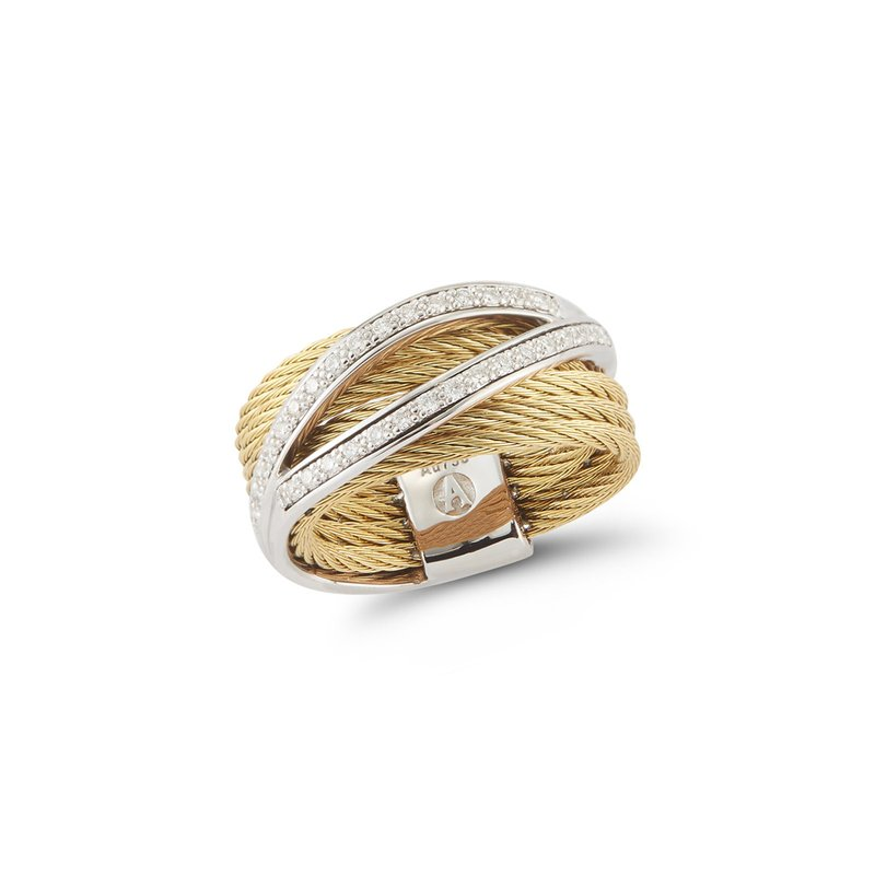ALOR Yellow Cable Divided Ring with 18kt White Gold & Diamonds