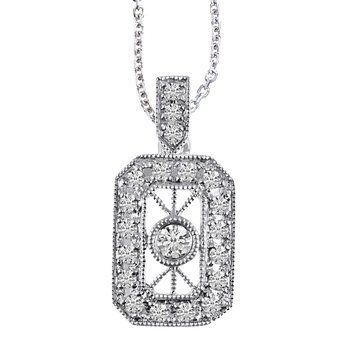 14K White Gold Vintage Inspired Diamond Pendant (.24 carat)