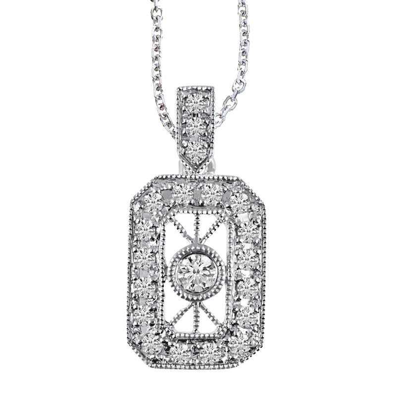 Color Merchants 14K White Gold Vintage Inspired Diamond Pendant (.24 carat)
