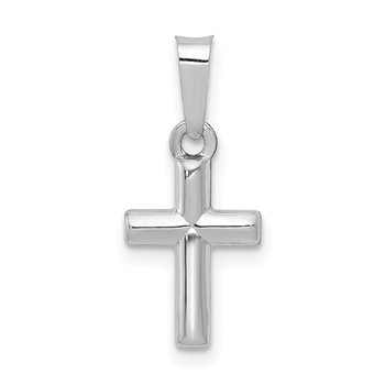 14k White Gold Polished Cross Pendant