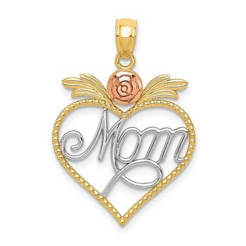14k Yellow and Rose w/Rhodium Mom in Heart w/Rose Pendant