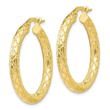 Leslie's 10K Polished and Textured Hinged Hoop Earrings