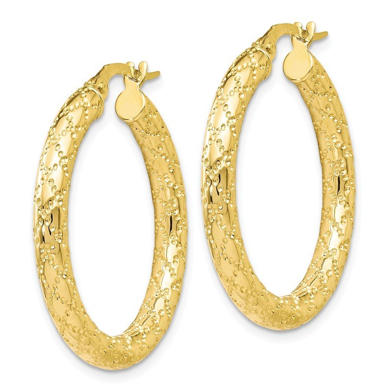Leslie's Leslie's 10K Polished and Textured Hinged Hoop Earrings