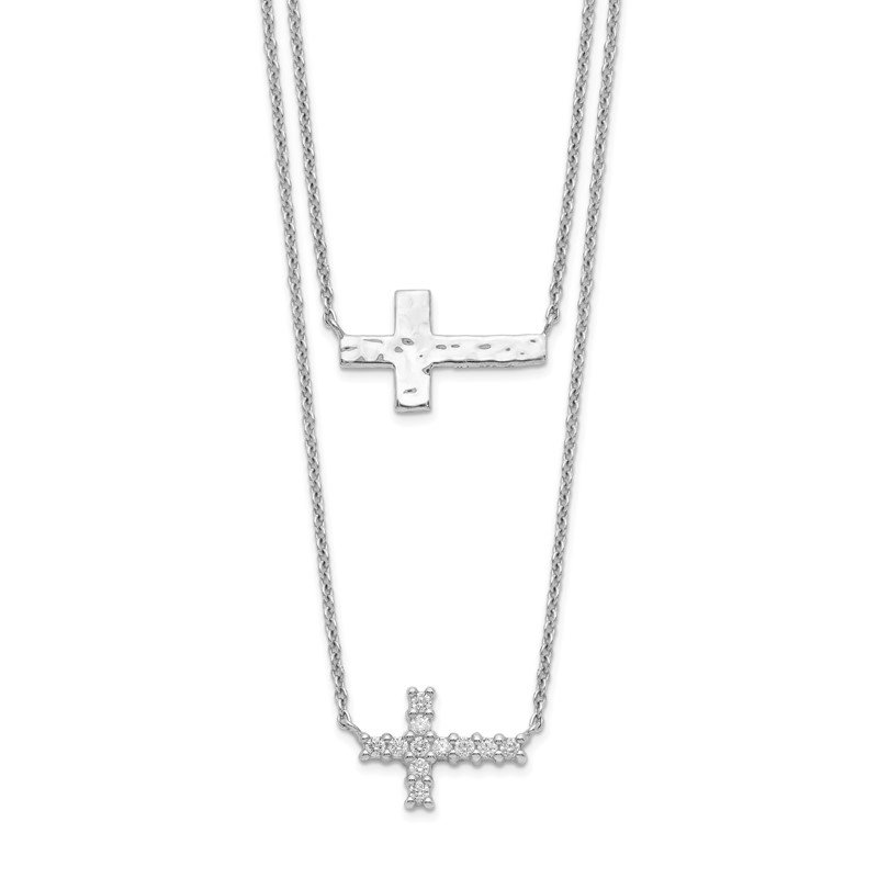 Quality Gold Sterling Silver CZ Cross Multi-Strand Necklace