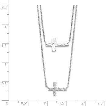Sterling Silver CZ Cross Multi-Strand Necklace