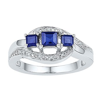 Sterling Silver Womens Princess Lab-Created Blue Sapphire 3-stone Ring 7/8 Cttw