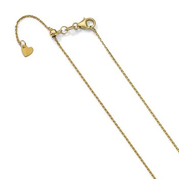 Leslie's 14K 1.1 mm Diamond-cut Adjustable Cable Chain