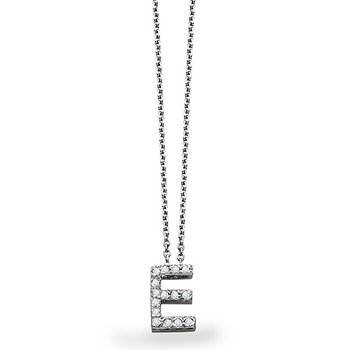 "Diamond Block Initial ""E"" Necklace in 14k White Gold with 15 Diamonds weighing .11ct tw."