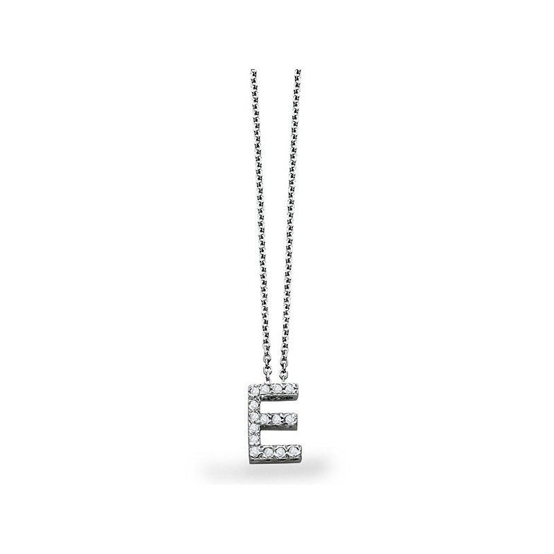 "KC Designs Diamond Block Initial ""E"" Necklace in 14k White Gold with 15 Diamonds weighing .11ct tw."