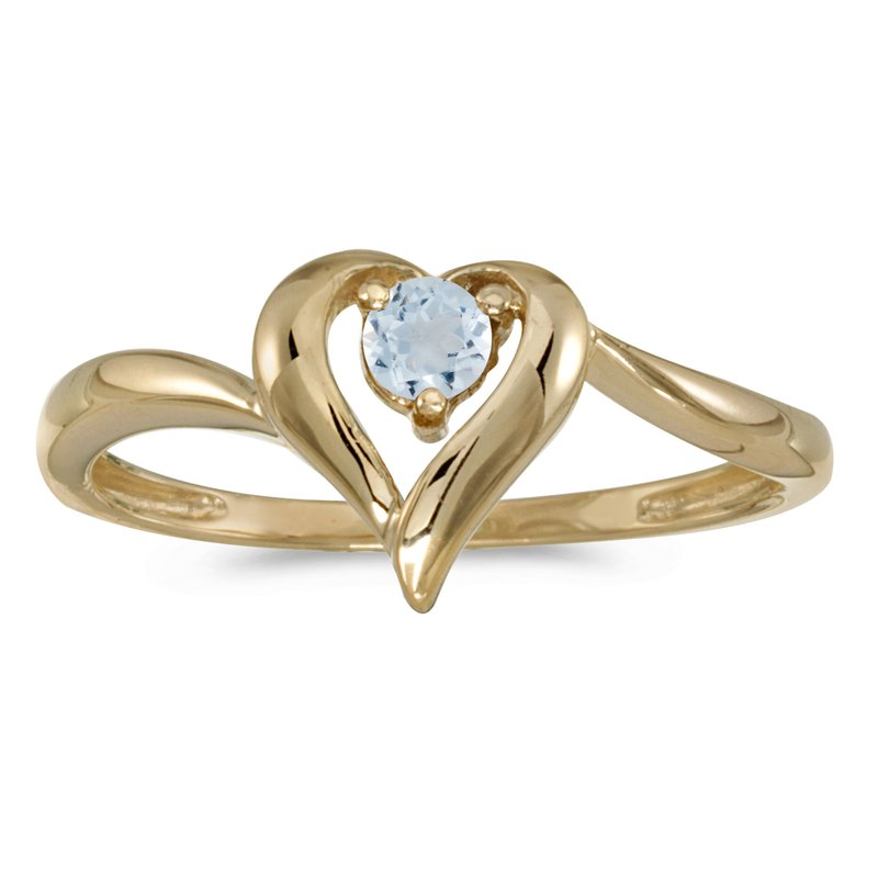 Color Merchants 10k Yellow Gold Round Aquamarine Heart Ring