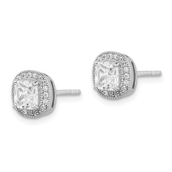 Sterling Silver Rhodium-plated 5mm CZ Halo Post Earrings
