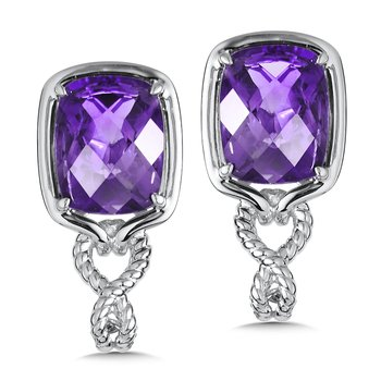 Sterling Silver Amethyst Post Earrings