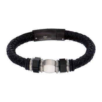 Plated Black & Steel Bead Leather Bracelet