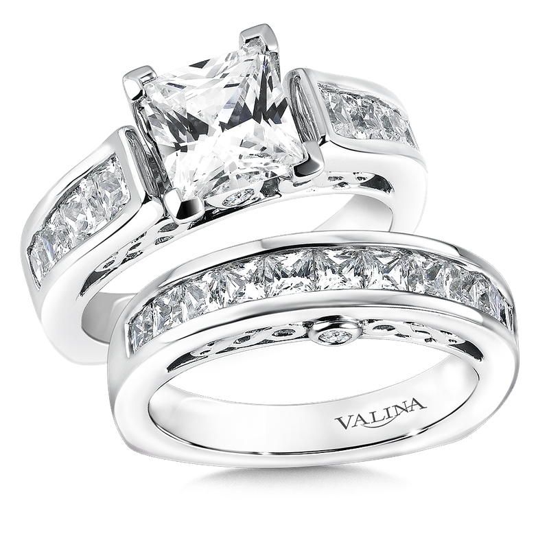 Valina Mounting with side stones 1.04 ct. tw., 1 3/4 ct. Princess center.