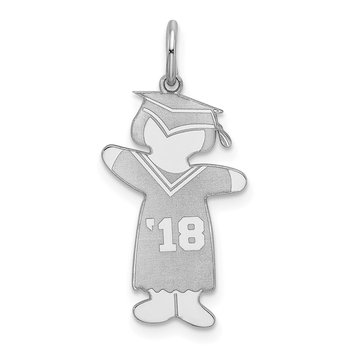 Sterling Silver Rhodium-plated Class of 2018 Girl Cuddle Charm