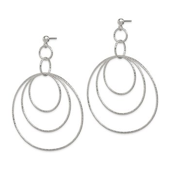 Sterling Silver Textured Circles Post Dangle Earrings