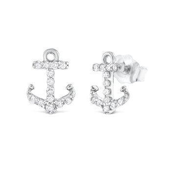 14K Diamond Anchor Earrings