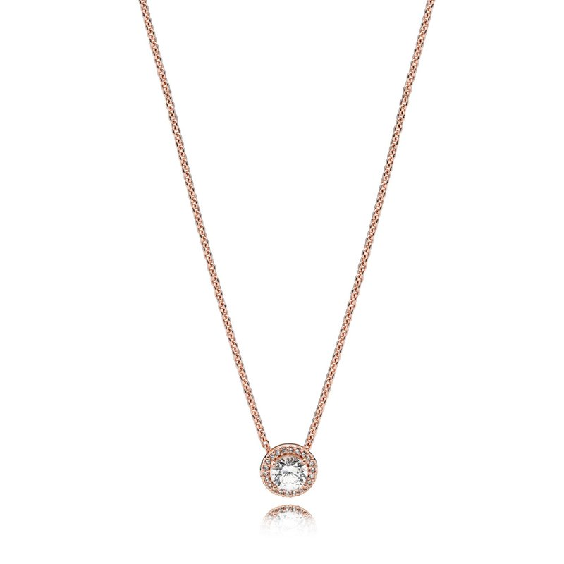 PANDORA Classic Elegance Necklace, Pandora Rose™ Clear Cz