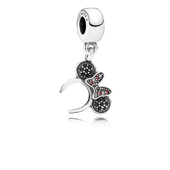 Disney, Minnie Headband Dangle Charm, Black Red Cz