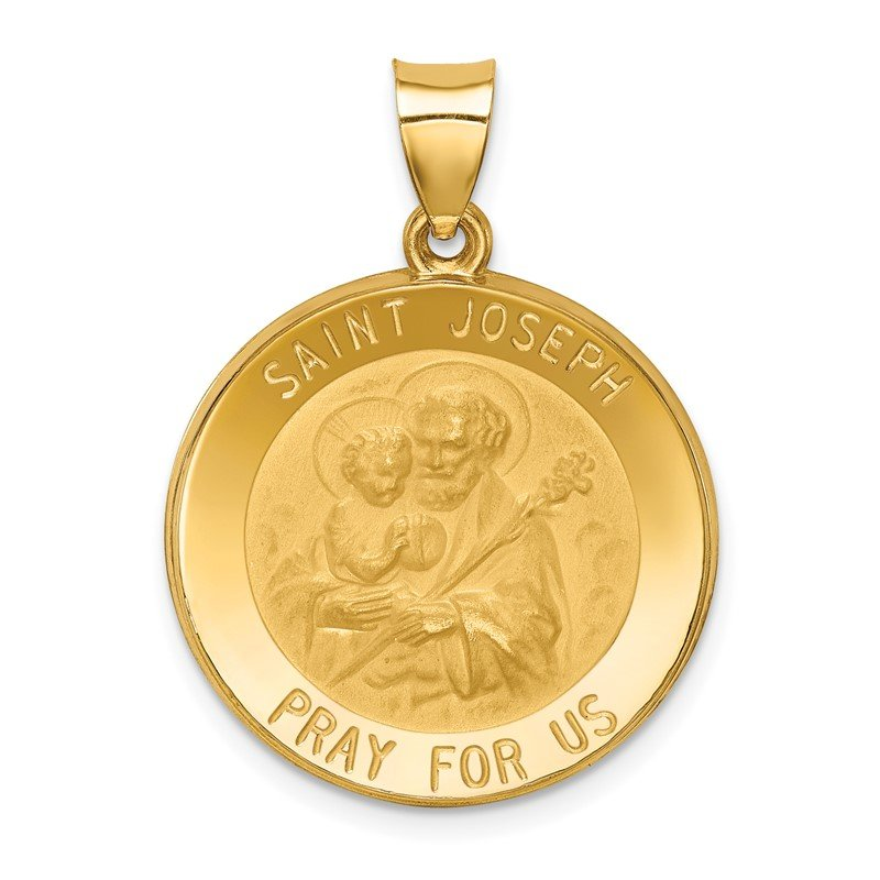 Quality Gold 14k Polished and Satin St Joseph Medal Hollow Pendant